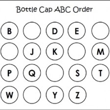 Bottle Cap ABC Order Free Printable via www.preschoolspot.com