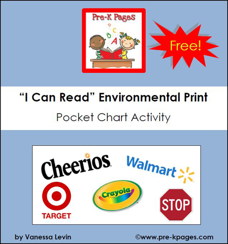 Free Environmental Print Pocket Chart Activity via www.preschoolspot.com