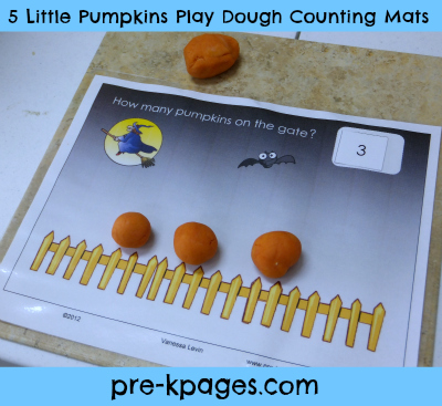 picture about 5 Little Pumpkins Printable known as 5 Tiny Pumpkins Engage in Dough Counting Mats PreschoolSpot