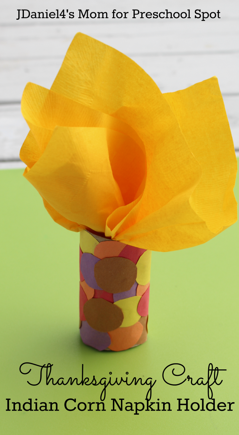 Thanksgiving craft indian corn napkin holder for Thanksgiving crafts for preschoolers free